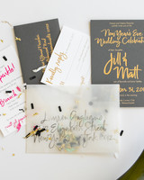 vellum envelope with confetti for new years wedding