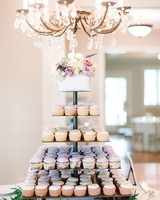 cupcake tier with purple and white cupcakes