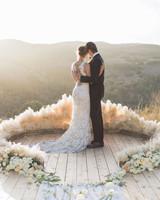 wedding ground floral arch deck mountain landscape
