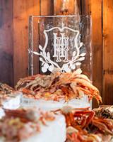 wedding ice sculpture monogrammed customized raw bar