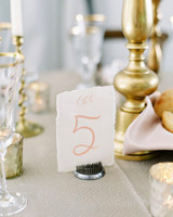 wedding table numbers deckle edged