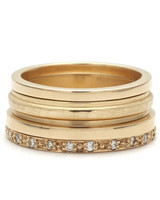 Anna Sheffield Sapphire Mixed Textures Gold Stack Rings