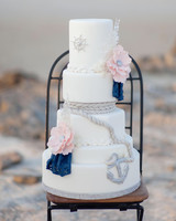 Wedding Cake with Nautical Details and Anchor