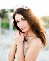 bride wearing boho crystal crown