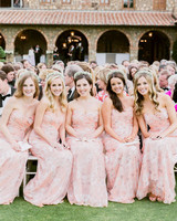 Bridesmaids in Floral Dresses and Flower Crowns