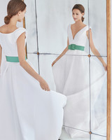 carolina herrera wedding dress fall 2018 belted v-neck