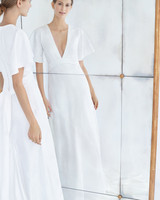 carolina herrera wedding dress fall 2018 v-neck short sleeve