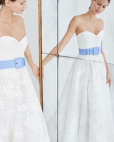 carolina herrera wedding dress fall 2018 sweetheart blue belted