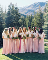 Bridesmaids in Blush and White Dresses