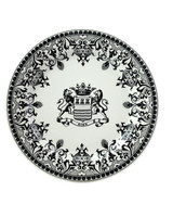 black and white destination inspired dinnerware