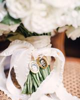 family photo locket bouquet wrap