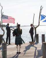 wedding dock bagpiper