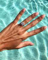 engagement ring selfie swimming pool