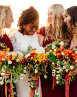 Deep Red Bridesmaids' Dresses