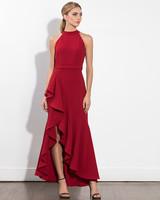 long red fall wedding guest dress