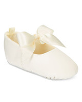 white flower girl ballerina shoe with bow