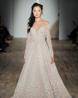 Long sleeved wedding dresses we love martha stewart weddings off the shoulder long sleeves hayley paige spring 2018 wedding dress collection junglespirit Gallery