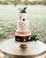 Honeycomb Wedding Inspiration, Wedding Cake with Honeycomb Foil Details