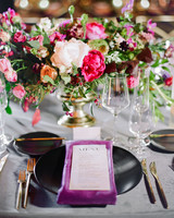 katie andre wedding placesetting purple napkin gold flatware