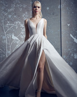 legends romona keveza plunging neckline ballgown wedding dress with leg slit spring 2020
