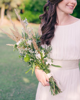 small florals with greenery and Sprigs of wheat long stemmed wedding bouquet
