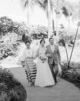 hawaiian wedding bride parents aisle walk