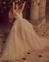 monique lhuillier bliss fall 2019 spaghetti strap v neck ball gown with tule skirt