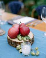non-floral wedding centerpieces red pears