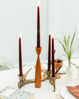 non-floral wedding centerpieces gold antler candle holder