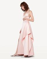 pink high slit bridesmaid dress spaghetti strap