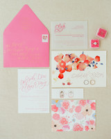 pressed flower petals wedding invites