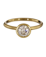 Rebecca Overmann Diamond Solitaire Water Yellow Gold Band Engagement Ring
