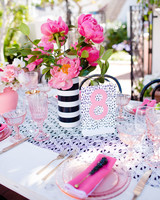 fun pink wedding table number