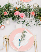 garland centerpiece with pink garden roses