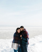 couple frozen lake