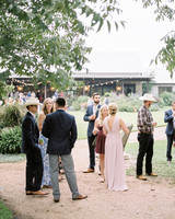 guests wearing spring wedding attire