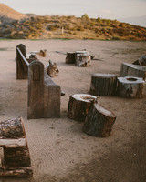 Pews and Tree Stump Ceremony Seating