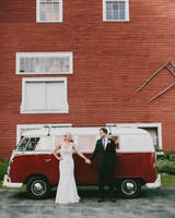bride groom red car red building