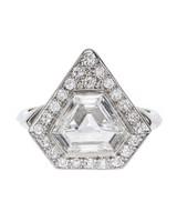 platinum bezel cornered triangular step cut diamond ring