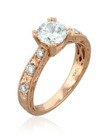 Yael Designs Rose Gold Engagement Ring with Round Brilliant Cut Center Stone