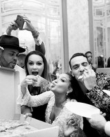 Adrienne Bailon and Israel Houghton Eating Pizza at Wedding