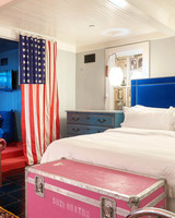 hotel bed american flag