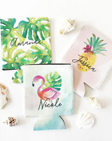 bachelorette party supplies tropical name koozies