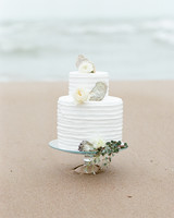Ruffled Wedding Cake Decorated with Shells