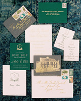 charles andrew wedding gold green stationery