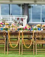 head table chairs with leis