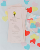 colleen stephen newport wedding programs with heart-shaped confetti