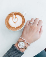 engagement ring selfie heart-shaped latte art