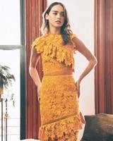 mustard yellow lace ruffled fall wedding guest dress