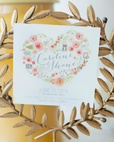 save the date stationary with floral heart shaped design